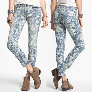 Free People Hawaiian Print Cropped Skinny Jeans